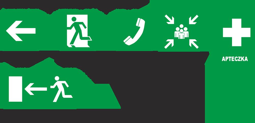 malowanie poziomych znaków informacyjnych iewakuacyjnych